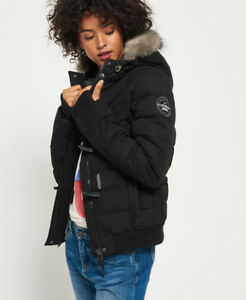 New Womens Superdry Microfibre Toggle Puffle Jacket Black