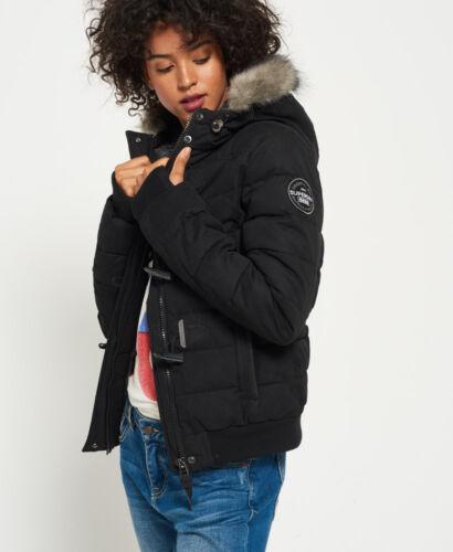 Black Nueva Microfibre Superdry Puffle mujer Jacket Toggle 1qqZw4rY