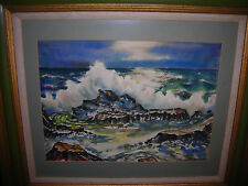 Art,antique painting,beautiful sea scape,crashing waves,dramatic image,signed,NR