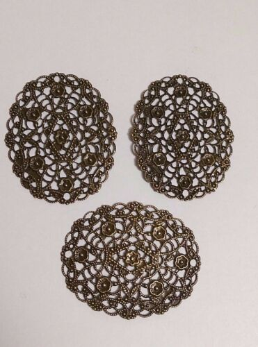 """Connector 50mm 10 Bronzed SCROLLED FLORAL OVAL FILIGREES 2/"""" x 1-5//8/"""" #16291"""