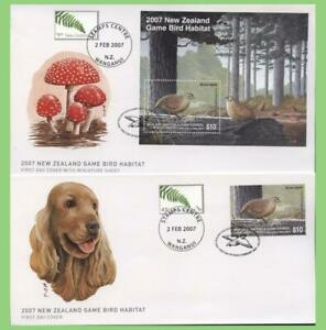 New-Zealand-2007-Game-Bird-Habitat-stamp-amp-m-s-on-two-First-Day-Covers
