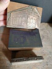 Lot Of 3 Vintage Print Blocks Romeo Bank Building Amp Realty Store Letter Press