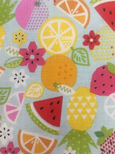More 100/% Cotton Brightly Coloured Fruit Medley Riley Blake Fabric FQ