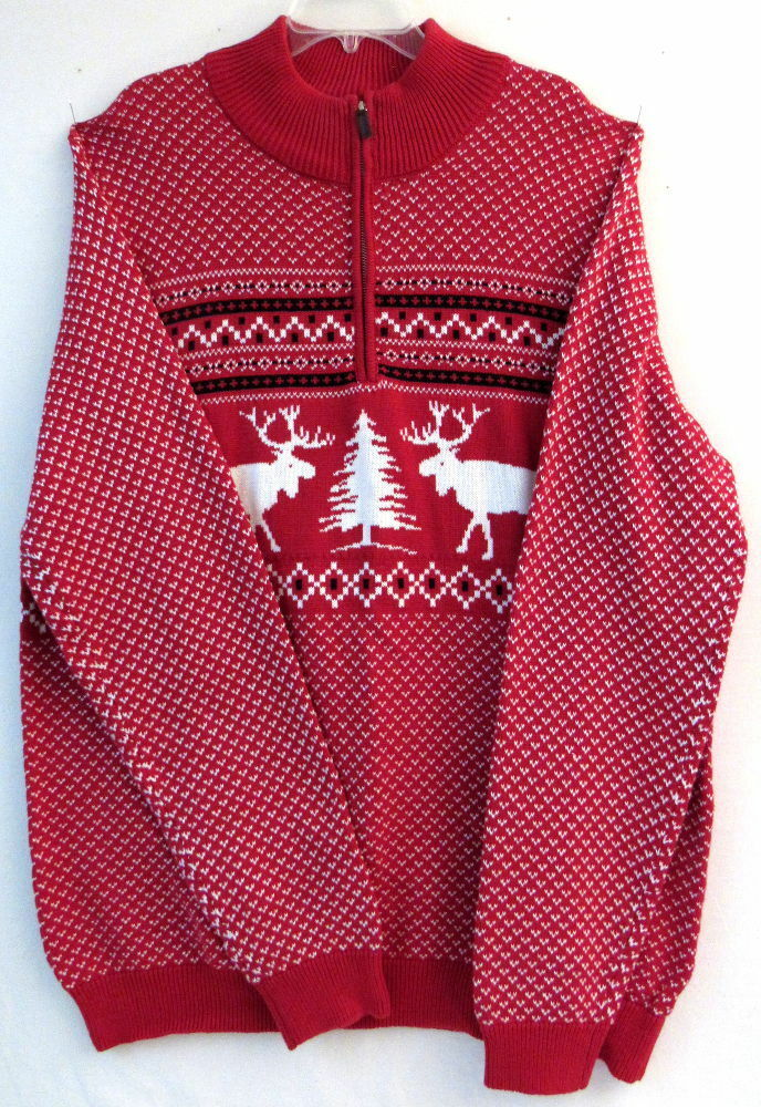 4XL 1 4 Zip Red Moose Pattern Sweater-Foundry Supply-100% Cotton-Big & Tall-NWT