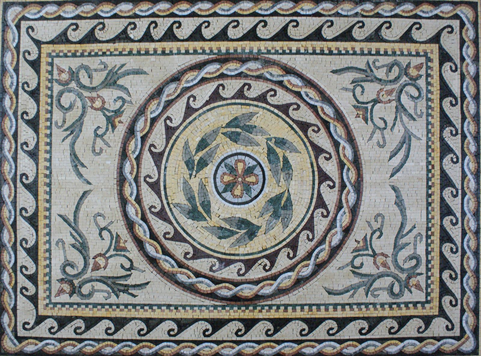 Wavy Border Rope Frame CenteROT Flower Floor Carpet Deisgn Marble Mosaic CR895