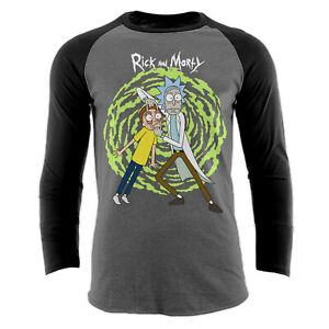 Official-Rick-and-Morty-Spiral-Baseball-shirt-Portal-Charcoal-S-M-L-XL