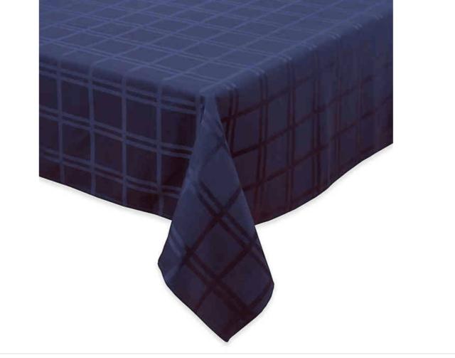 Origins Microfiber Tablecloth Spill Proof Blue 70 x102 OBLONG Seats 8-10 NEW