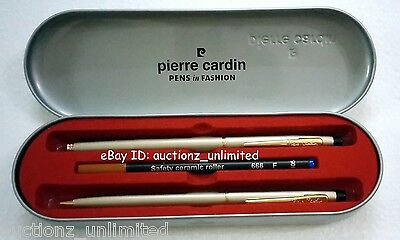 Pierre Cardin Kriss Satin Nickle Roller Ball & Ball Pen Set - Brand New Original