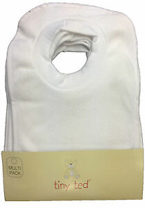 "BABY BIBS ""PACK OF 7"" TINY TED WHITE TERRY POP OVER BNWT 3117430006001"