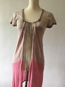 WHITE-STUFF-brown-Pink-Striped-Short-Sleeve-Thin-Knit-Long-Cardigan-Size-10-VG