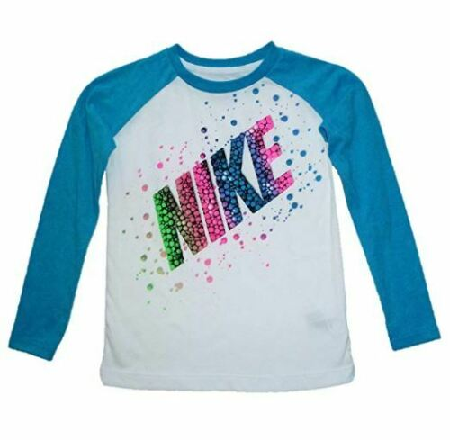 SRP $20 NIKE Little Girls Long Sleeve Graphic Tee Size 6X White 36A642-001