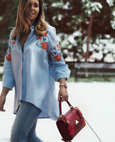 ZARA NEW FLORAL PATTERN EMBROIDERED SHIRT BLUE WHITE COTTON COLLARED SIZE XS-L