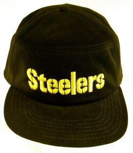 Pittsburg-Steelers-New-Era-Snapback-Hat-Cap-Block-Letter-Black-Yellow-Made-USA