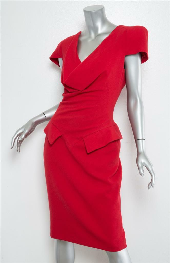 ALEXANDER MCQUEEN Red Short Sleeve Sleeve Sleeve Draped Structured Shoulder Dress 8-44 NEW 4a751c
