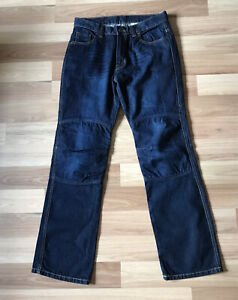 Aramid-Reinforced-Mens-Dark-Blue-Denim-K-Jeans-Motorcycle-Protective-Sz-W34-L33