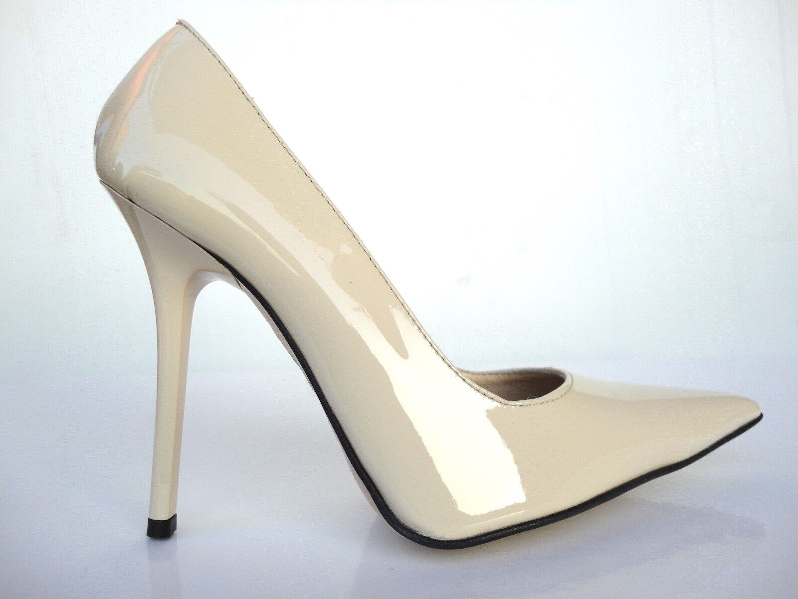 751f77f1bb3 Details about GIOHEL ITALY HIGH HEELS POINTY TOE PUMPS SCHUHE LEATHER COURT  SHOES NUDE BEIGE