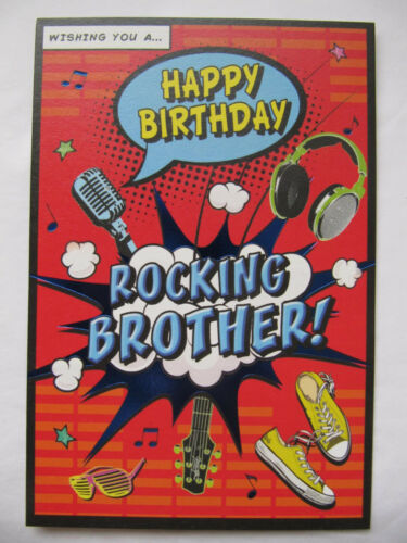 COLOURFUL WISHING YOU A HAPPY BIRTHDAY ROCKING BROTHER BIRTHDAY GREETING CARD