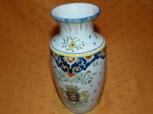Ancien vase en faïence décor Rouen polychrome avec blason armoiries Normandie K5bxiYTa-09092449-374800014
