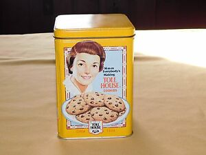 """FOOD  6 1/4"""" HIGH NESTLE CHOCOLATE  TOLL HOUSE COOKIES   TIN CAN    EMPTY"""