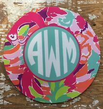 Mouse Pad Round Personalized Monogram Teacher Gift Office Lilly Pulitzer
