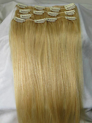 """22"""" Women Clips In Human Hair Extensions Straight 7Pcs 70g #22 Light Blonde"""