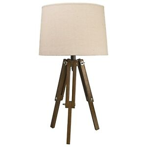 Nautical vintage style tripod table lamp natural light for 4 legged wooden floor lamp