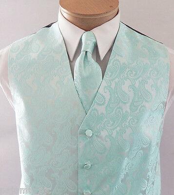 Men/'s Paisley Aqua Green Polyester Tuxedo Vest with Ascot Cravat Necktie and Handkerchief for Formal Occasions