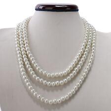 Kalse Multiple 3 Strands Layer Pearl Statement Pendant Bib Choker Necklace White