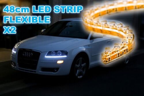 AUDI 48cm STRIPS DRL 30 LED XENON LOOKS LIGHTS UNIVERSAL FIT 8000K LANDROVER