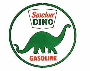 SINCLAIR-OIL-AND-GAS-ROUND-TIN-SIGN-DINOSAUR-METAL-POSTER-WALL-ART