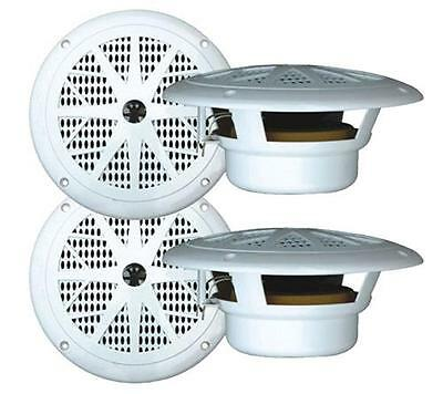 2 Pairs New Pyle 120 Watts 6.5'' White Marine Boat Yacht Waterproof Speakers Pkg