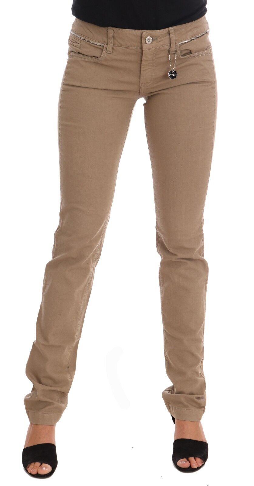 NEW  280 CoSTUME NATIONAL C'N'C Jeans Denim Beige Cotton Stretch Slim Fit s. W26