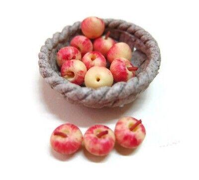 12 Fresh Eggs Fill Ceramic Round Basket Dollhouse Miniatures Food Supply Deco