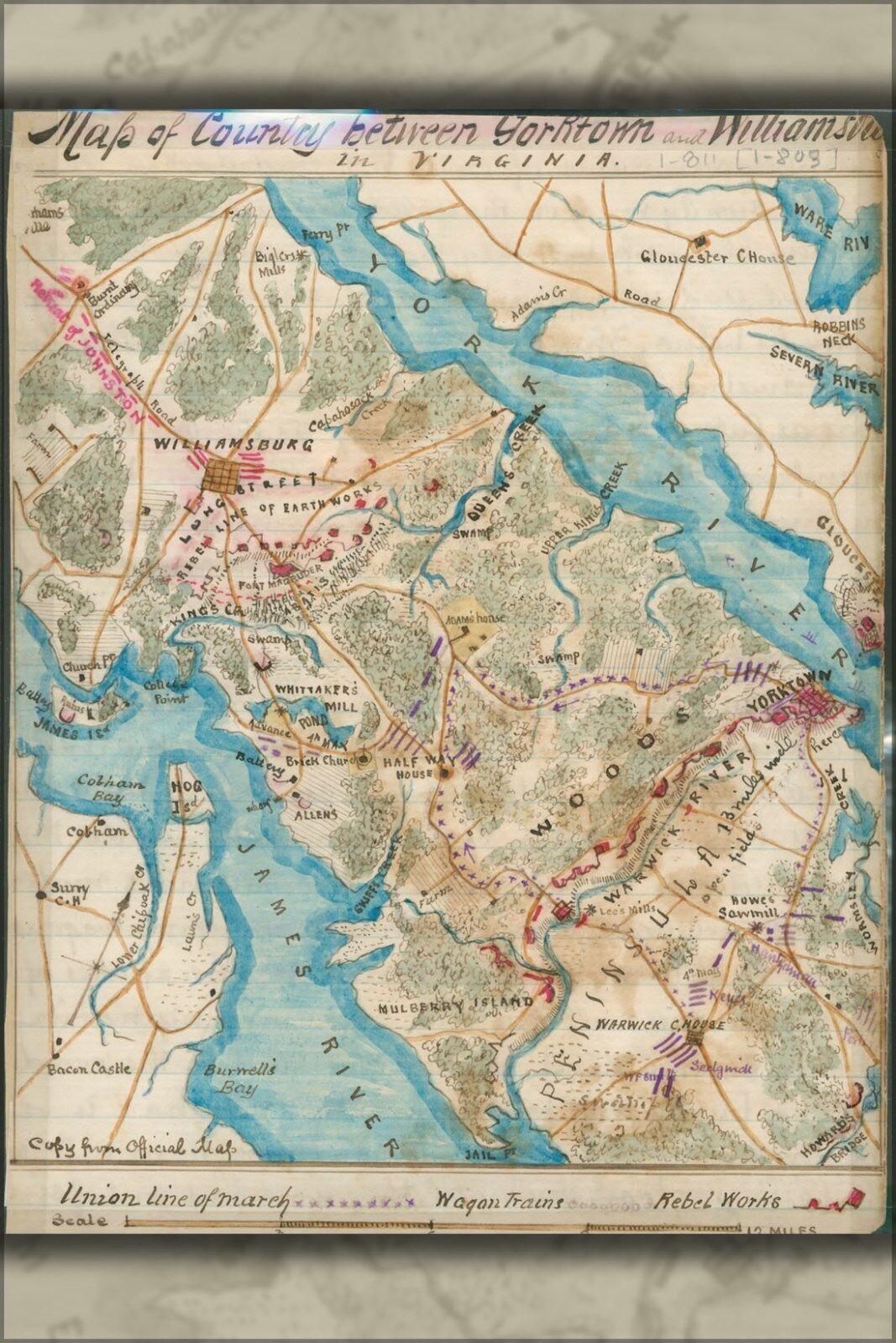 Plakat, Viele Größen; Karte von Yorktown To Williamsburg Virginia 1865