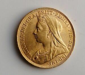 1893 Full Gold Sovereign  Victoria Veiled Head  London Mint