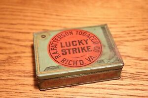 ANTIQUE-Lucky-Strike-Cut-Plug-Tobacco-Hinged-Tin-Box-Richmond-VA-4-Ounce