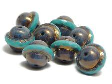 Czech Glass Beads 10x12mm Bronze Purple Washed Turquoise Saturn Beads (8) #5230