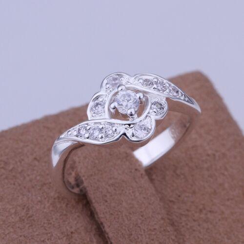 Anello argento placcato argento anello con 6 Zirconia Anello di fidanzamento Cuore Nuovo