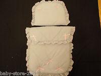 Beautiful Pram Set Quilt & Pillow Colour Grey / Pink Bows