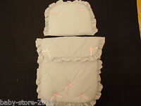 Beautiful Pram Set Quilt & Pillow Colour Grey / Pink Bows