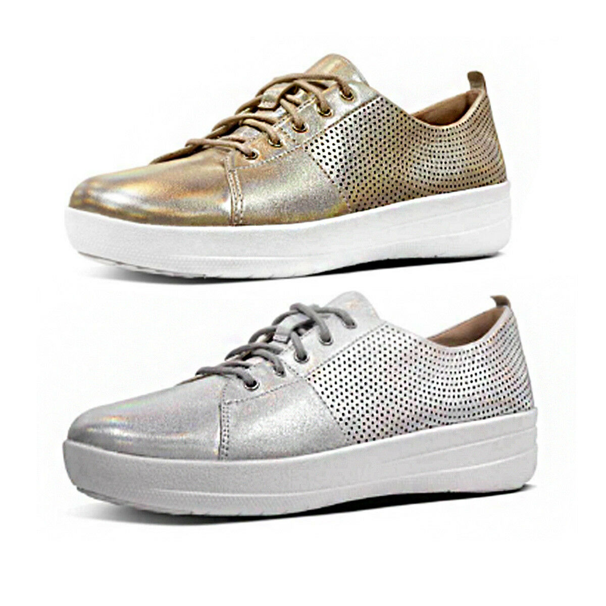 Fitflop F Sporty Scoop Cut Perforated Women Leather Gold Sneaker Size UK 3 - 8