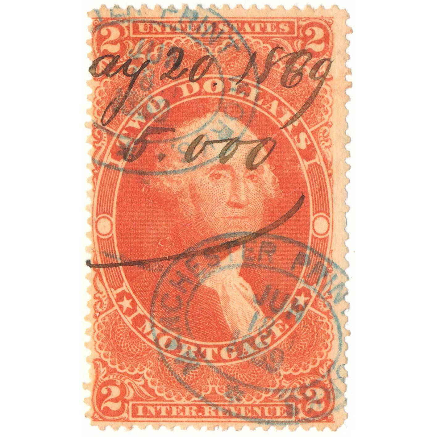 1862-71 R82C $2.00 Mortgage Revenue Stamp with Manchest