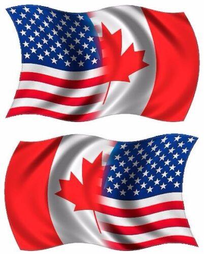 "2-3/""x1.8/"" American Canadian Waving Flag Decal SET USA Canada Vinyl Sticker RL"