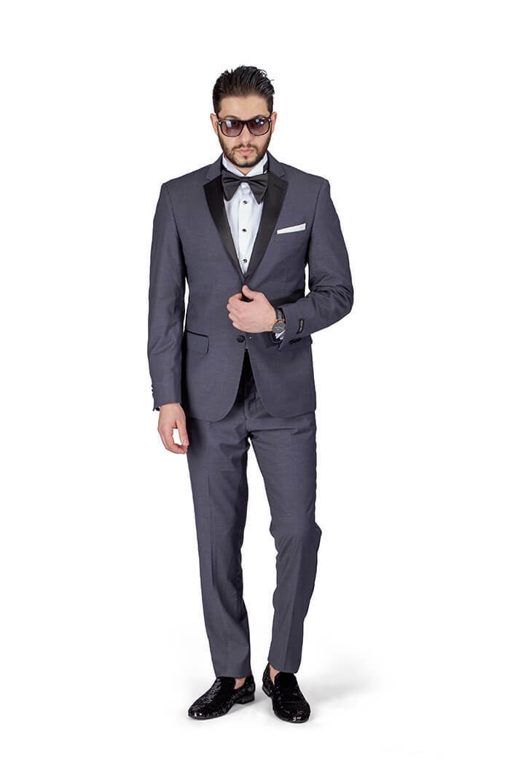 Slim Fit Men's Charcoal Grey Tuxedo 2 Button Notch Lapel Satin Collar AZAR MAN