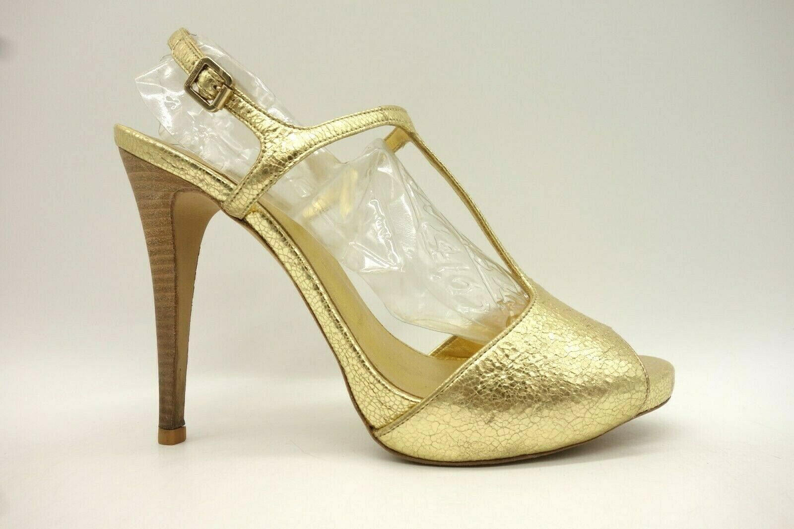 Tory Burch gold Crackle Leather Ankle T-Strap Open Toe Heels Women's 9 M