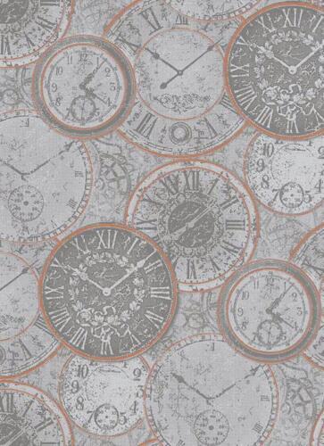 Tapete Uhr Nostalgie versch Farben 6435 Erismann Prime Time 2,97€//1qm