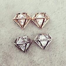 Ohrstecker Ohrringe Kristall Strass Hollow Diamant 3D Silber Filigran Minimal