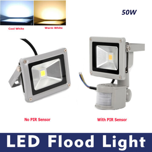 Warm White With LED Floodlight Garden Security Light Cool Without PIR Sensor