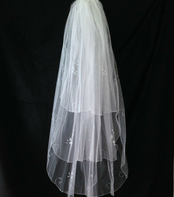 UK-3T soft bridal wedding veil handsewn beads and sequins decor hip length #116