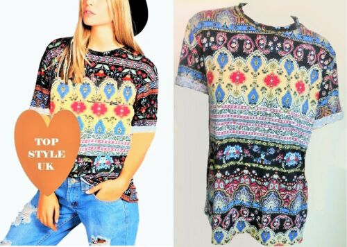 NEW LADIES WOMEN  AZTEC TRIBAL TAPESTRY PRINT TURN UP SLEEVES T SHIRT SIZE S,M,L
